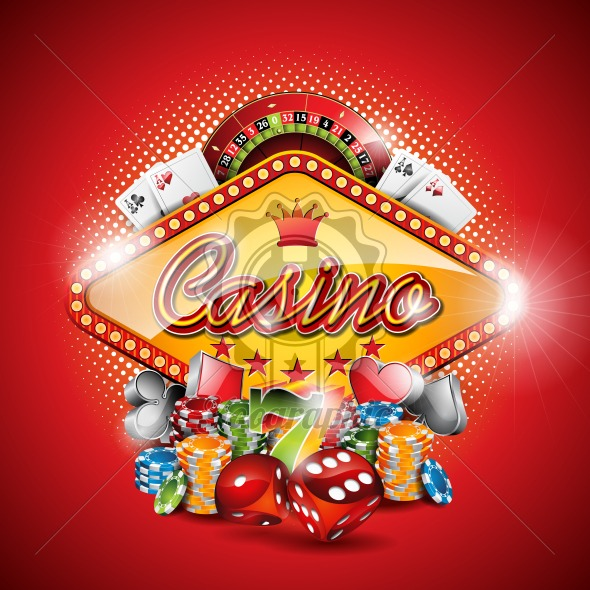 Vector illustration on a casino theme with gambling elements on red background. EPS 10 design