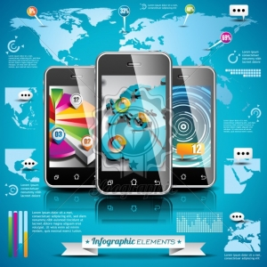 Vector design set of infographic elements. World map and information graphics on mobile phone. EPS 10 illustration