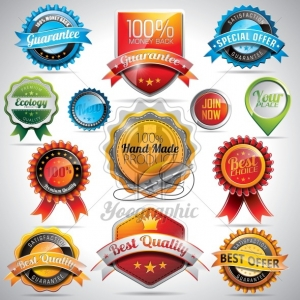 Vector set of labels and badges illustration with shiny styled design on a clear background.