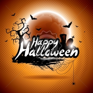 Vector illustration on a Happy Halloween theme on moon background.