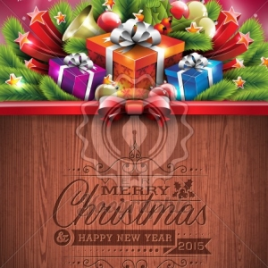 Engraved Merry Christmas and Happy New Year typographic design with holiday elements on wood texture background. EPS 10 Vector illustration.