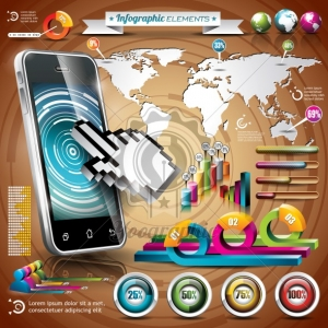 Vector design set of infographic elements. World map and information graphics on mobile phone.